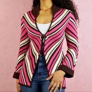 ALICE + OLIVIA Chevron Wool Sweater Jacket NWOT